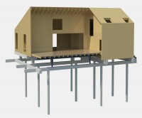 bouwvoorbereiding voor het Rubber House in Almere: